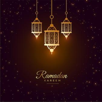 Bela saudação com lanterna brilhante ramadan kareem