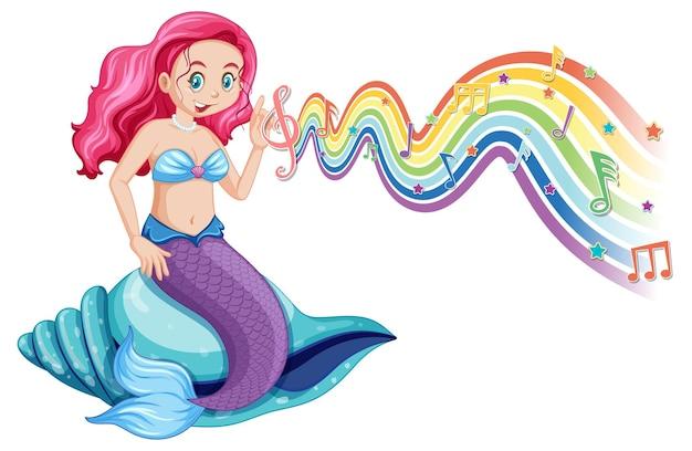 Bela sereia com símbolos de melodia na onda do arco-íris