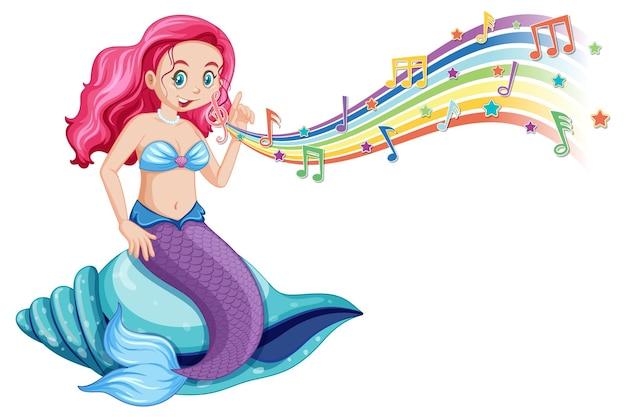 Bela sereia com símbolos de melodia no arco-íris
