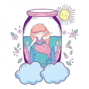 Bela sereia em personagem de conto de fadas jarra mason