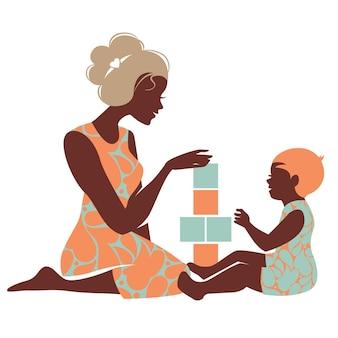 Bela silhueta de mãe e bebê brincando com brinquedos. feliz dia das mães