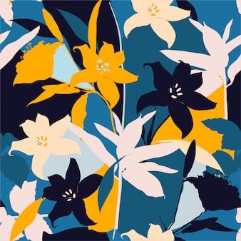 Bela silhueta retrô de flores de lírio abstrata sem costura padrão