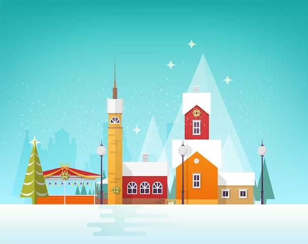 Bela vista da cidade de inverno ou vila na neve.