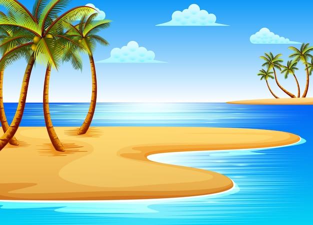 Bela vista da praia tropical com alguns coqueiros na costa