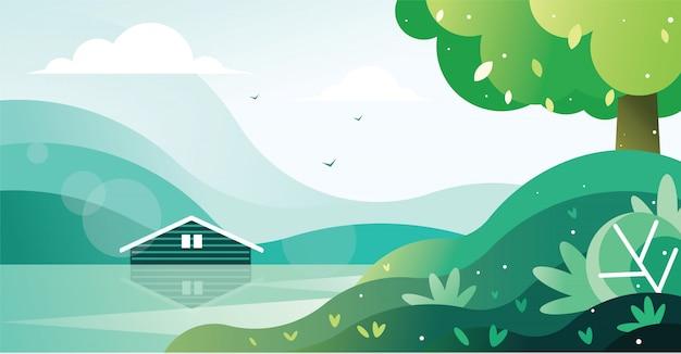 Bela vista de uma casa à beira do lago ilustração