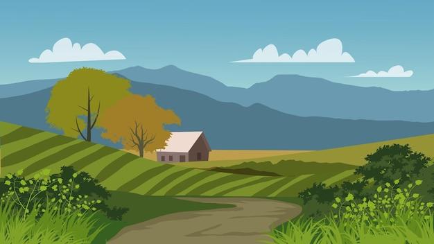 Bela vista do campo com casa de fazenda e trilha