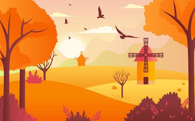 Bela vista do outono. campo com moinho de vento.