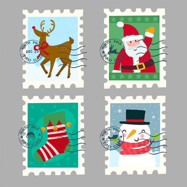 Belas coleções de carimbos postais de natal