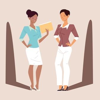 Belas empresárias em poses diferentes, mulheres de negócios