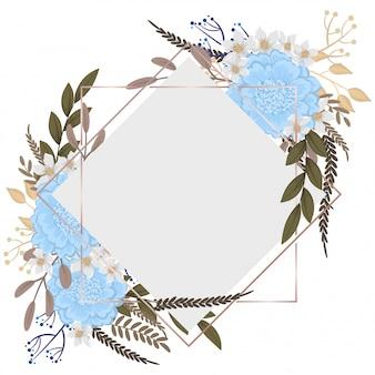 Belas fronteiras florais luz flores azuis