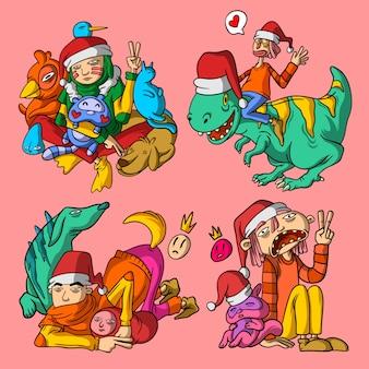 Belas ilustrações de natal mão estilo desenhado