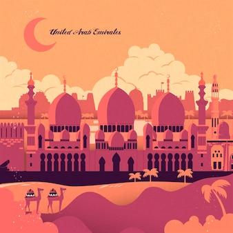 Belas mesquitas e paisagens desérticas ao pôr do sol
