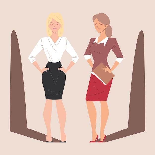 Belas mulheres de negócios em diferentes poses, empresárias