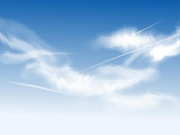 Belas nuvens no fundo do céu azul.