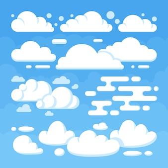 Belas nuvens planas no céu azul. céu azul do tempo com nuvem branca. ilustração vetorial