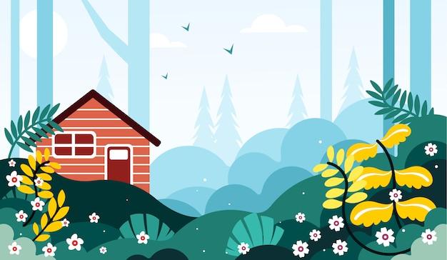 Belas paisagens a borda da ilustração da floresta