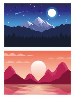 Belas paisagens com cenas diurnas e noturnas