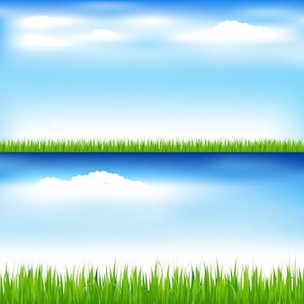 Belas paisagens com grama verde e céu azul com nuvens