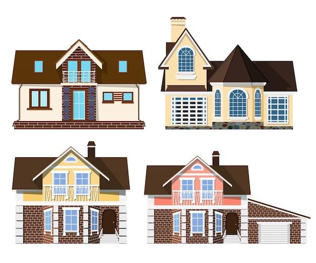 Belas pequenas casas rurais aconchegantes sobre um fundo branco