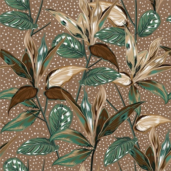 Belas plantas botânicas vintage e padrão sem emenda de floresta selvagem