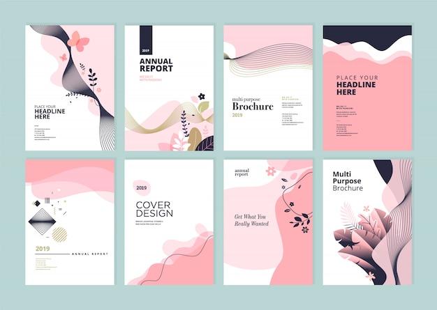 Beleza anual relatório capa modelo conjunto de design