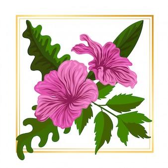 Beleza bonito flor floral rosa com folha vintage natureza