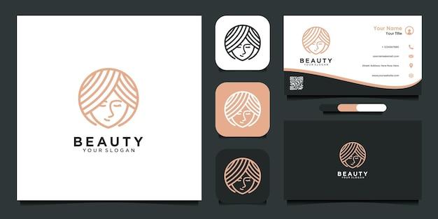 Beleza com modelo de design de logotipo de rosto e cartão de visita