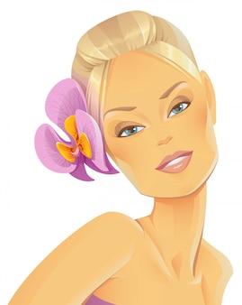Beleza com uma orquídea no cabelo dela