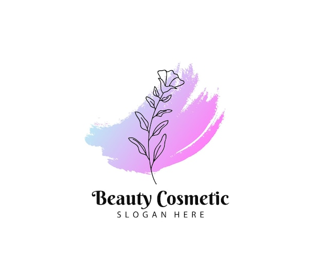 Beleza cosmética logo, conceitos femininos e modernos com flor e pincel.