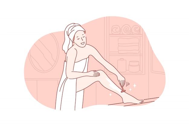Beleza, cuidados com a pele, conceito de depilação