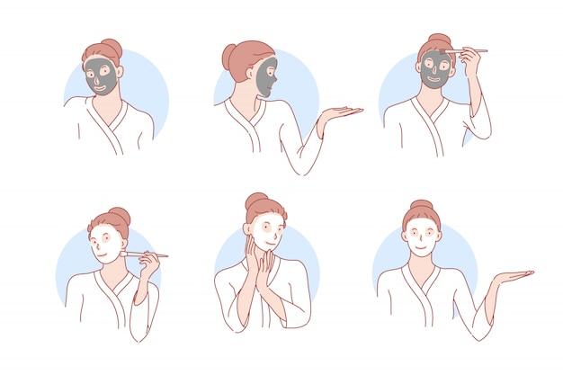 Beleza, cuidados com a pele, máscara, ilustração de conjunto de cosmetologia