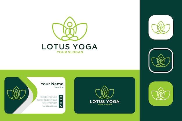 Beleza de lótus para ioga e design de logotipo de spa e cartão de visita