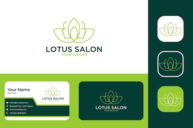 Beleza de lótus verde com design de logotipo de arte de linha de duas mulheres e cartão de visita