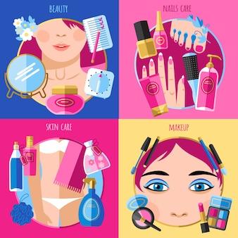 Beleza de maquiagem 4 ícones quadrados plana