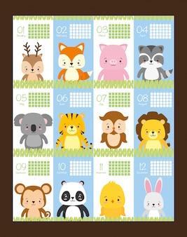 Beleza e calendário bonito com animais, ilustração