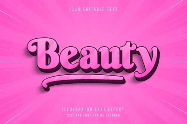 Beleza, efeito de texto editável em 3d com gradação rosa estilo de texto manuscrito Vetor Premium