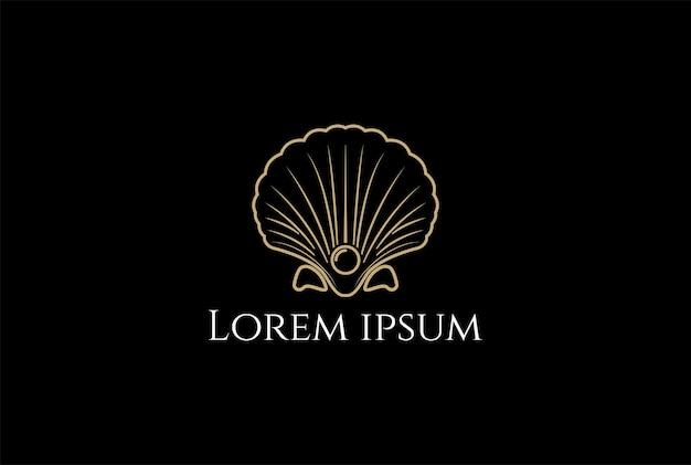 Beleza elegante luxo pérola joias concha do mar ostra concha de vieira ostra concha de amêijoa mexilhão design de logotipo em vetor