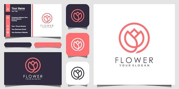 Beleza elegante minimalista flor rosa com estilo de arte linha. logo use cosméticos, yoga e inspiração de logotipo de spa. conjunto de design de logotipo e cartão de visita