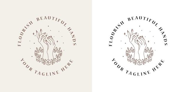 Beleza feminina logotipo boho com mão feminina borboleta lua unhas coração estrelas cristal premium