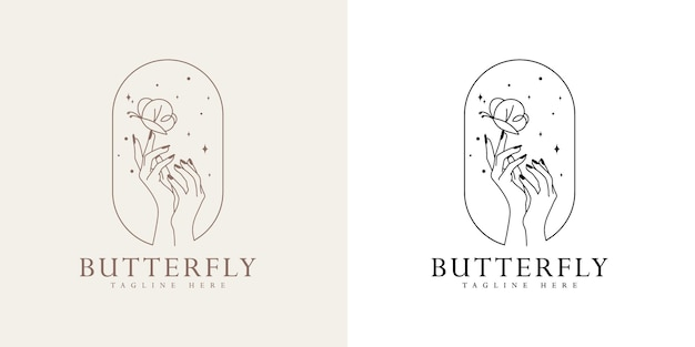Beleza feminina logotipo boho com mão feminina borboleta unhas coração estrelas premium