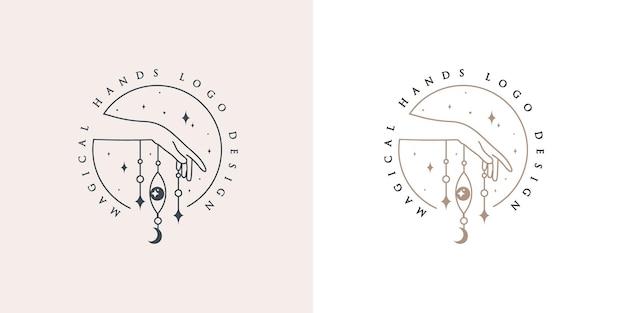 Beleza feminina logotipo boho com mão mágica feminina unhas lua coração coração estrelas cristal premium