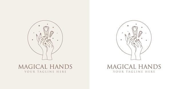 Beleza feminina logotipo boho com mãos femininas com unhas estrelas de cristal premium