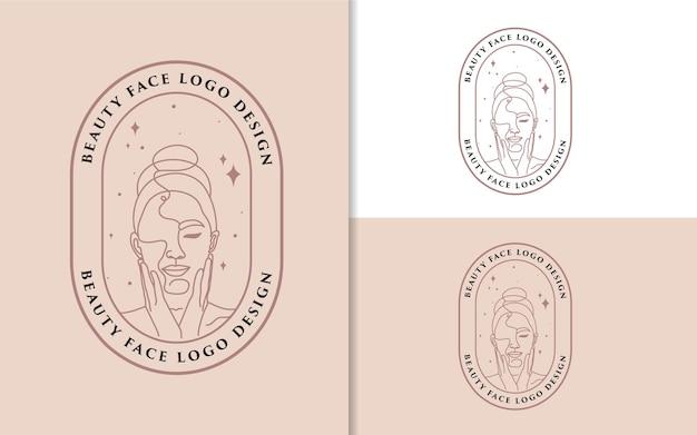 Beleza feminina rosto de mulher minimalista linha arte desenhada à mão logo retrato