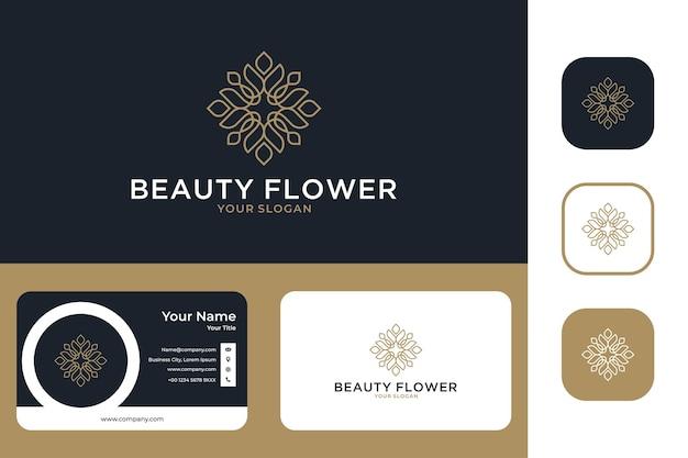 Beleza flor geometria linha arte logo design e cartão de visita