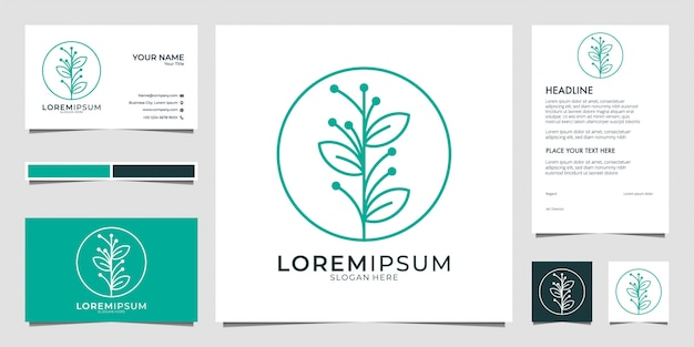 Beleza folha linha arte logotipo design e cartão de visita