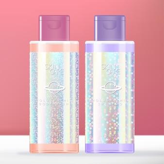 Beleza holográfica de brilho na moda ou produtos de higiene pessoal limpar a embalagem da garrafa.