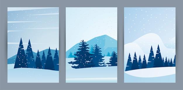 Beleza inverno três cenas de paisagens com ilustração da floresta