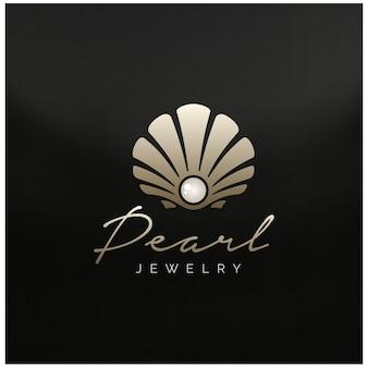 Beleza luxo elegante joias de pérolas concha de mar ostra concha de vieira ostra concha de amêijoa logo