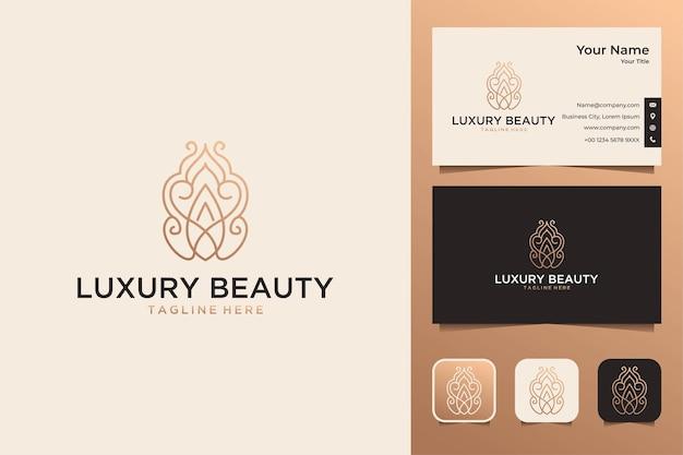 Beleza luxuosa com design de logotipo de arte de linha e cartão de visita