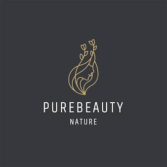Beleza luxuosa mulher logotipo ícone design modelo vetor premium